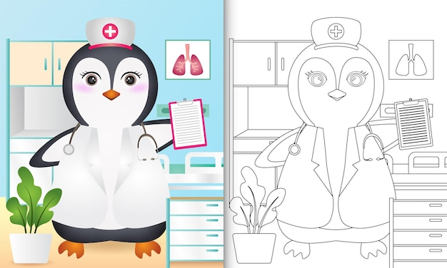 Coloring book for kids with a cute penguin nurse character illustration