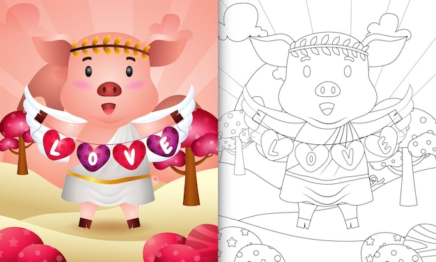 Coloring book for kids with a cute pig angel using cupid costume holding heart shape flag