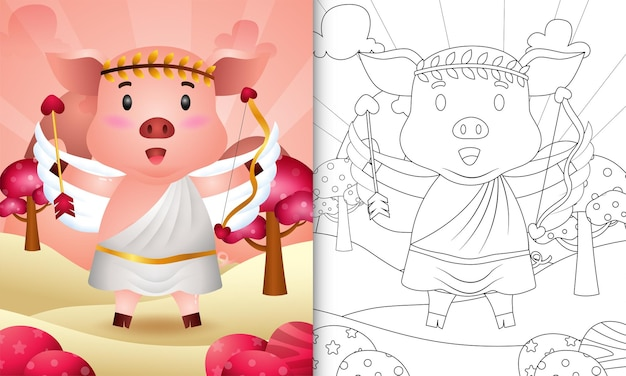 Coloring book for kids with a cute pig angel using cupid costume themed valentine day