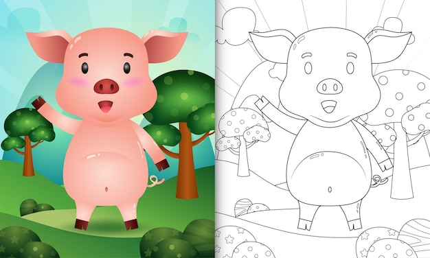 Coloring book for kids with a cute pig character illustration