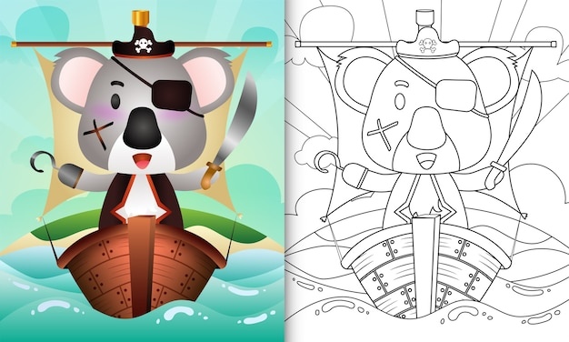 Coloring book for kids with a cute pirate koala character illustration on the ship