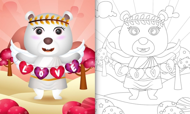 Coloring book for kids with a cute polar bear angel using cupid costume holding heart shape flag
