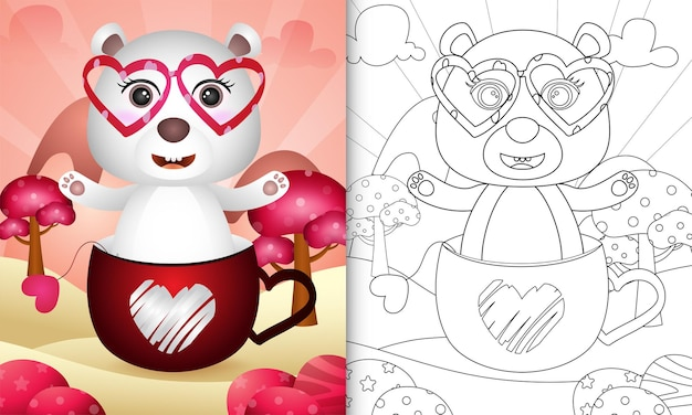 Coloring book for kids with a cute polar bear in the cup themed valentine day