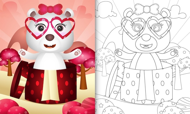 Coloring book for kids with a cute polar bear in the gift box themed valentine day
