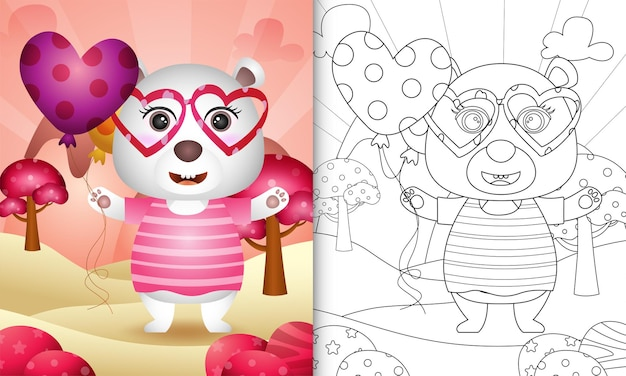 Coloring book for kids with a cute polar bear holding balloon themed valentine day