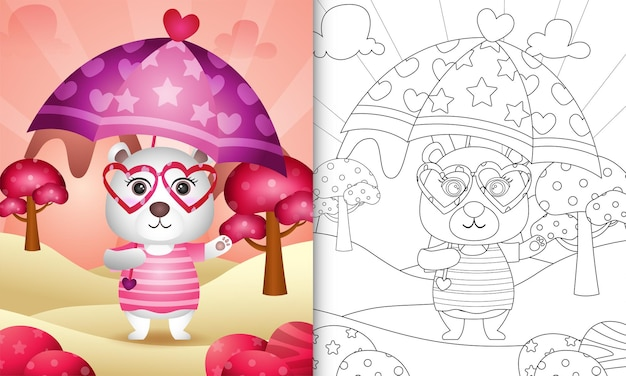 Coloring book for kids with a cute polar bear holding umbrella themed valentine day