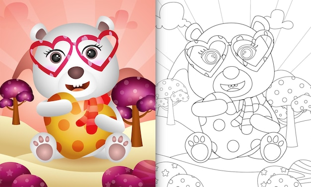 Coloring book for kids with a cute polar bear hugging heart themed valentine day