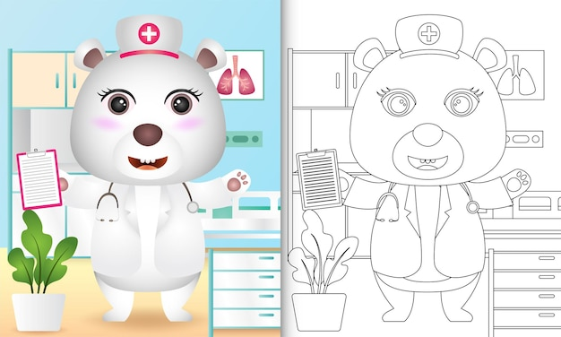 Coloring book for kids with a cute polar bear nurse character illustration