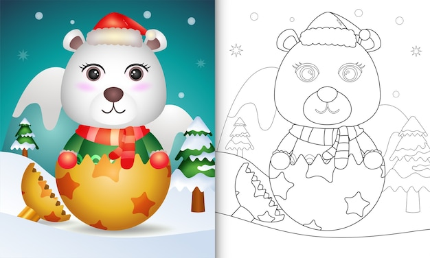 Coloring book for kids with a cute polar bear using santa hat and scarf in christmas ball