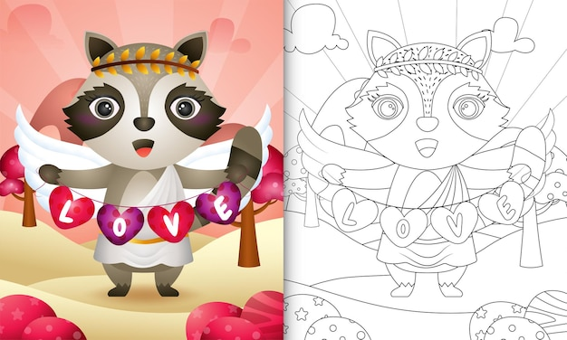 Coloring book for kids with a cute raccoon angel using cupid costume holding heart shape flag