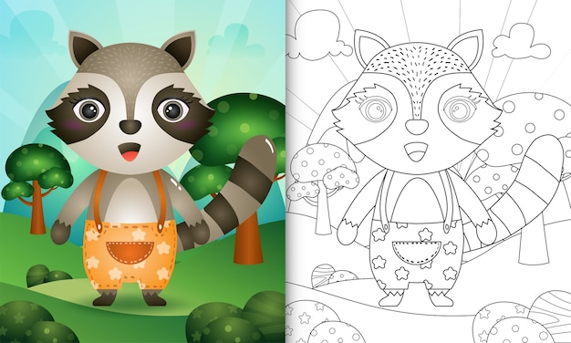 Coloring book for kids with a cute raccoon character illustration