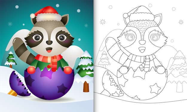 Coloring book for kids with a cute raccoon using santa hat and scarf in christmas ball