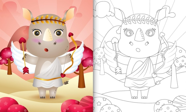 Coloring book for kids with a cute rhino angel using cupid costume themed valentine day