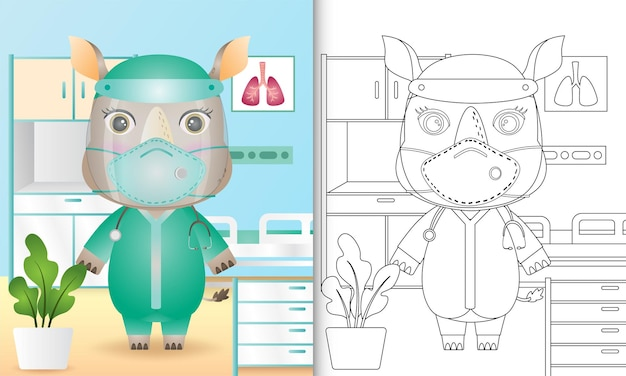 Coloring book for kids with a cute rhino character illustration using medical team costume