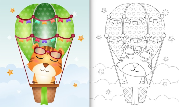 Coloring book for kids with a cute tiger on hot air balloon