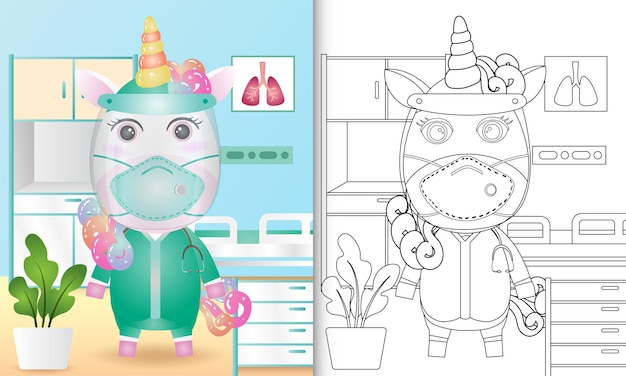 Coloring book for kids with a cute unicorn character illustration using medical team costume