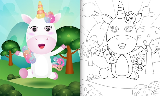 Coloring book for kids with a cute unicorn character illustration