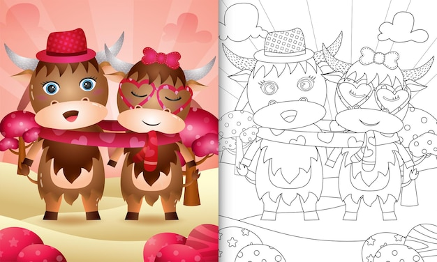 Coloring book for kids with cute valentine's day buffalo couple illustrated