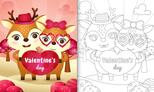 Coloring book for kids with cute valentine's day deer couple illustrated