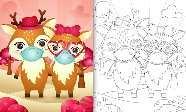 Coloring book for kids with cute valentine's day deer couple using protective face mask Premium Vector