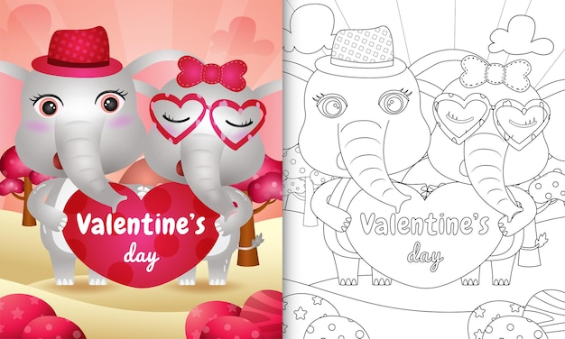 Coloring book for kids with cute valentine's day elephant couple illustrated