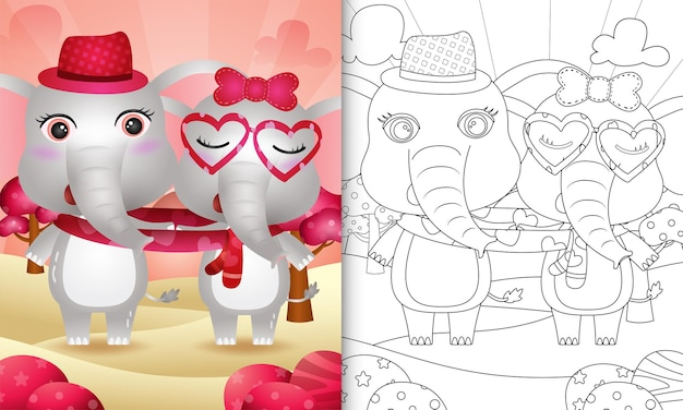Coloring book for kids with cute valentine's day elephant couple