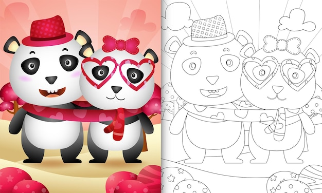 Coloring book for kids with cute valentine's day panda bear couple illustrated