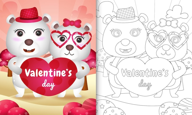 Coloring book for kids with cute valentine's day polar bear couple illustrated