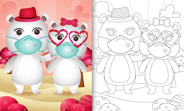Coloring book for kids with cute valentine's day polar bear couple using protective face mask