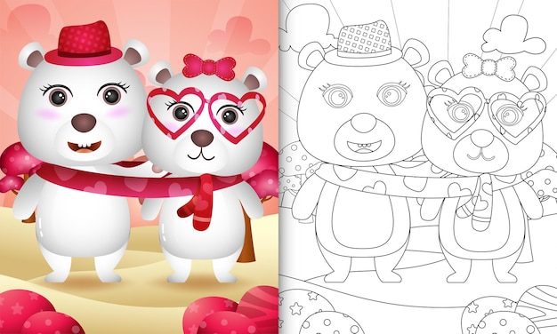 Coloring book for kids with cute valentine's day polar bear couple