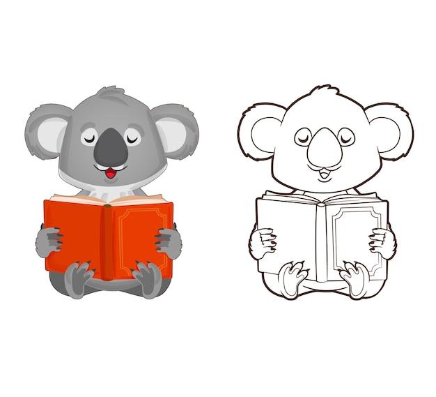 색칠하기 책 작은 코알라는 만화 스타일의 책 벡터 일러스트를 읽고 있습니다.