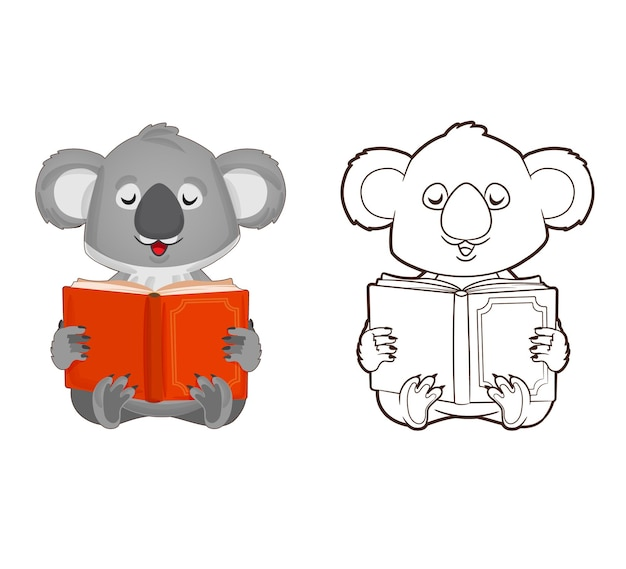 Coloring book little koala is reading a book vector illustration in cartoon style