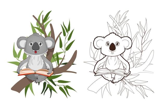 塗り絵、ユーカリの枝に座って本を読んでいる小さなコアラ。ベクトル、漫画風のイラスト、子供のための黒と白の線画
