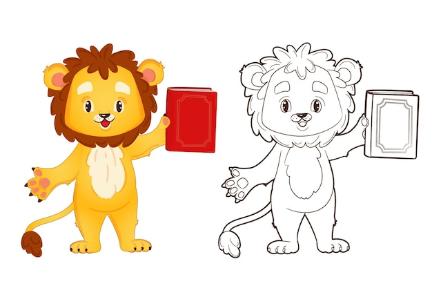 Coloring book little lion is holding a book. vector illustration