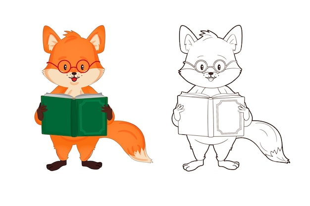 색칠하기 책 안경을 쓴 작은 붉은 여우는 만화 스타일의 책 벡터 일러스트를 읽습니다.