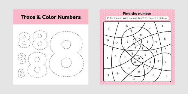 Coloring book number for kids. worksheet for preschool, kindergarten and school age. trace line. write and color a eight.