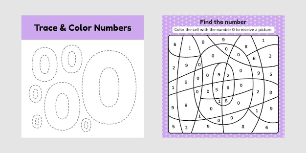 Coloring book number for kids. worksheet for preschool, kindergarten and school age. trace line. write and color a null.