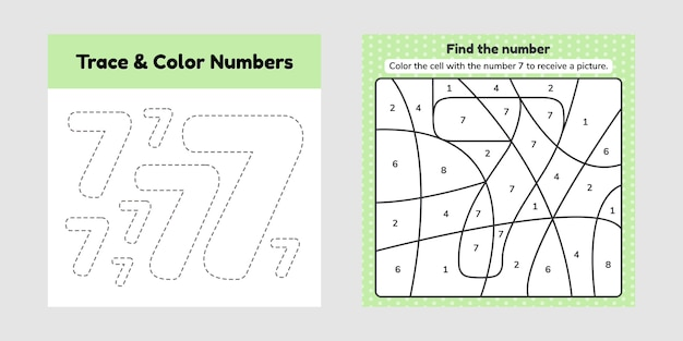 Coloring book number for kids. worksheet for preschool, kindergarten and school age. trace line. write and color a seven.