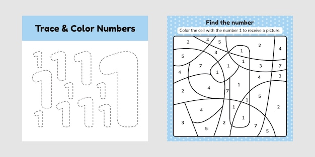 Coloring book number for kids.
