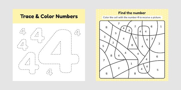 Coloring book number. trace line. write and color a four