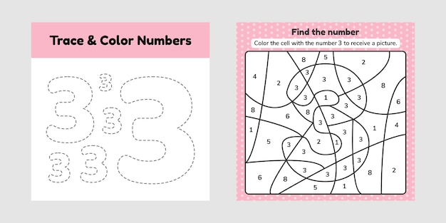 Coloring book number. trace line. write and color a three.
