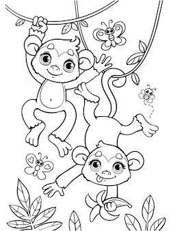小さな赤ちゃん猿の塗り絵が枝に飛び乗っています。黒と白のアウトライン。動物園。アフリカの動物。子供のためのイラスト。塗り絵。猿の漫画のキャラクター。孤立した着色ページ