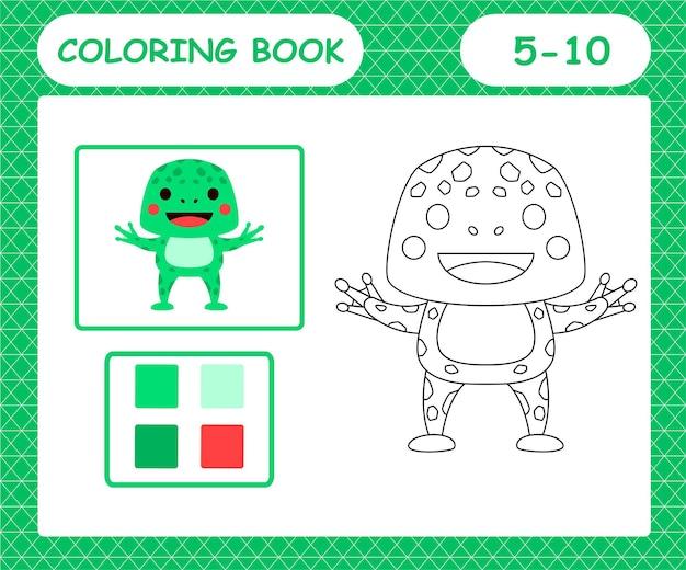 Книжка-раскраска или страница мультфильма милая лягушка