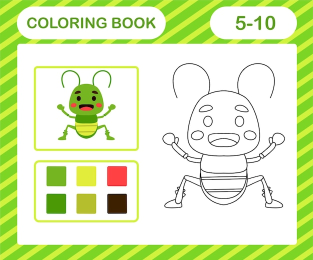 색칠하기 책이나 페이지 만화 귀여운 메뚜기, 5세와 10세 어린이를 위한 교육 게임