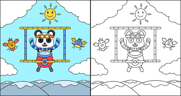 Книжка-раскраска или страница мультяшная панда за рулем самолета