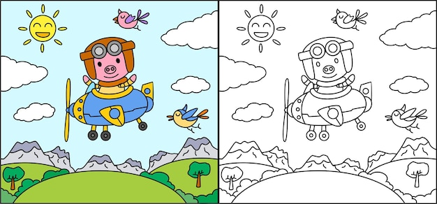 Книжка-раскраска или страница мультяшная свинья за рулем самолета
