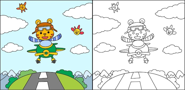 飛行機を運転する塗り絵やページ漫画の虎