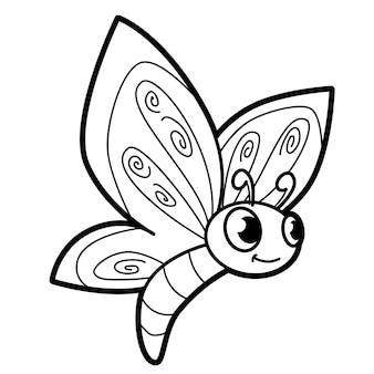 Книжка-раскраска или страница для детей. черно-белая бабочка