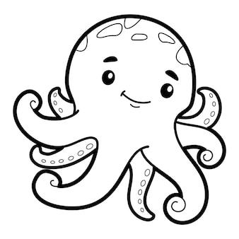 Книжка-раскраска или страница для детей. черно-белый осьминог
