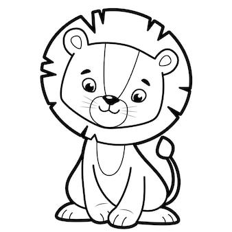 子供のための塗り絵やページ。ライオンの黒と白のベクトル図